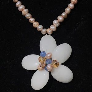 Tanzanite,stone and pearl flower necklace